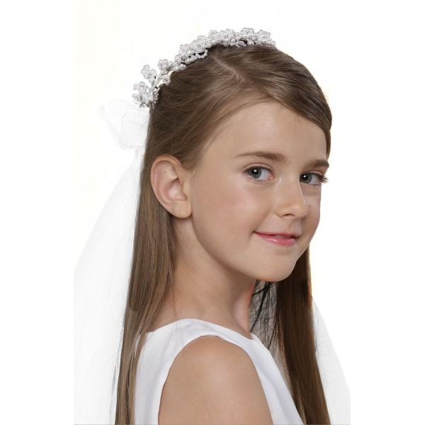 US Angels First Communion Pearl Wreath and Removable Veil