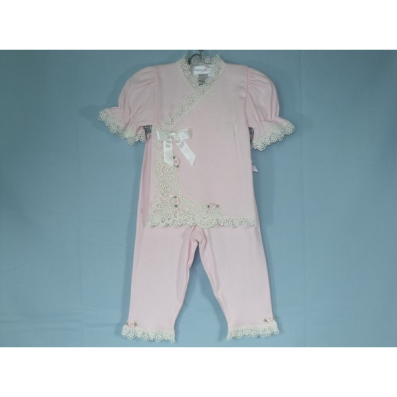 9800b7e41f3 Katie Rose 2Pc. Pink Wrap Top Pant Set with Ivory Lace