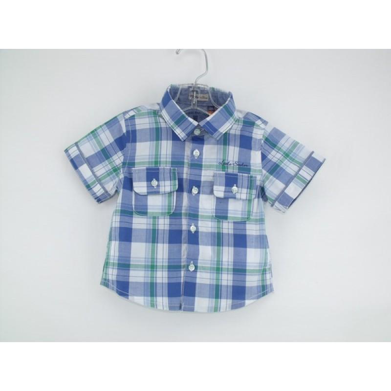 Mayoral royal blue green plaid s s shirt for Blue and green tartan shirt
