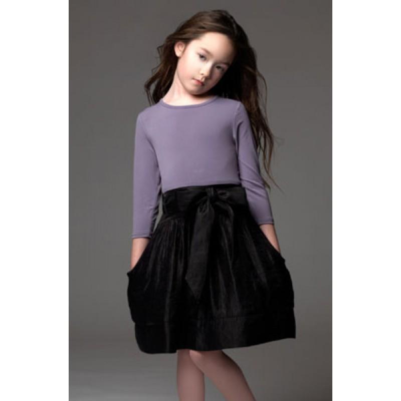 Tween Girl Fashion Black: Blush Lilac And Black ¾ Sleeve Dress With Pockets