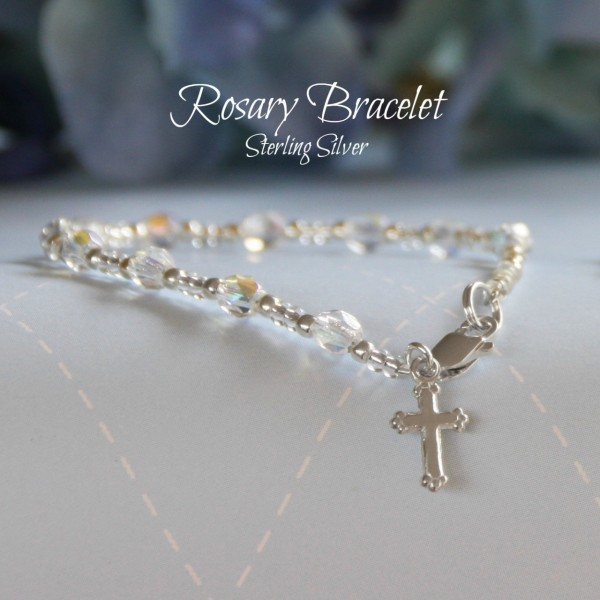 Sterling Silver Cross Rosary Bracelet with Crystals