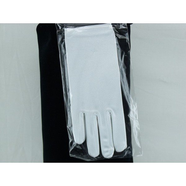 White Satin Gloves Plain